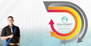 student in bottom left and district logo surrounded by arrows
